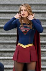 MELISSA BENOIST and ERICA DURANCE on the Set of Supergirl in Vancouver 05/02/2018