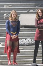 MELISSA BENOIST, CHYLER LEIGH, AMY JACNKSON and ERICA DURANCE on the Set of Supergirl in Vancouver 05/02/2018