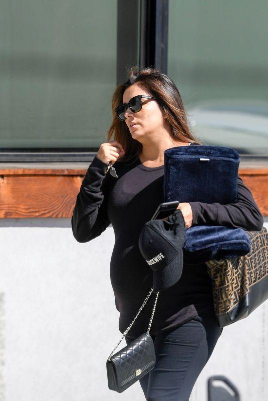 Pregnant EVA LONGORIA Leaves a Hair Salon in Los Angeles 05/25/2018