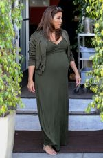 Pregnant EVA LONGORIA on the Set of Extra at Universal Studios in Hollywood 05/08/2018