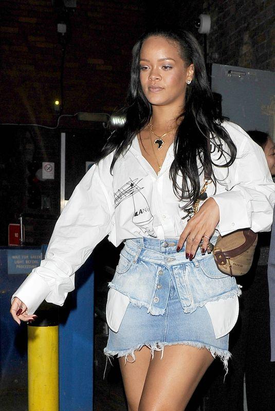 RIHANNA in Denim Skirt Night Out in London 05/22/2018