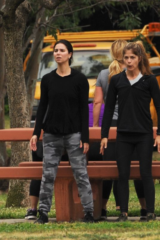 SELMA BLAIR and ROSELYN SANCHEZ Working Out at a Park in Studio City 05/23/2018