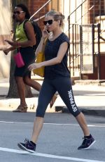 SIENNA MILLER in Leggings Heading to a Gym in New York 05/03/2018