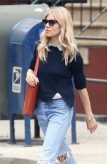 SIENNA MILLER in Ripped Denim Out in New York 05/10/2018