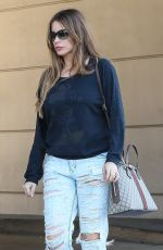 SOFIA VERGARA in Rpped Jeans at a Tanning Salon in Beverly Hills 05/23/2018