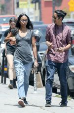 ZOE SALDANA in Jeans Out for Coffee in Los Angeles 05/28/2018