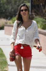 ALESSANDRA AMBROSIO in Red Denim Shorts Out in Pacific Palisades 06/13/2018