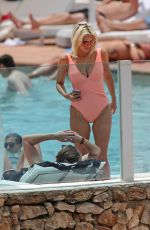 ASHLEY JAMES in Swimsuit at a Pool in Ibiza 06/06/2018