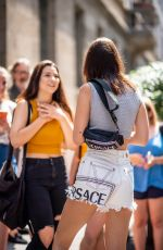 BELLA HADID Arrives at Versace Fashion Show in Milan 06/16/2018