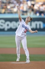 BILLIE LOURD Throws 1st Pitch at Dodger Stadium in Los Angeles 06/15/2018