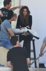CINDY CRAWFORD on the Set of a Photoshoot in Los Angeles 06/29/2018