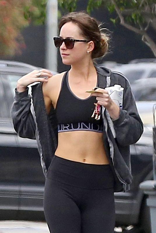 DAKOTA JOHNSON in Tights Leaves Pilates Class in Los Angeles 06/18/2018