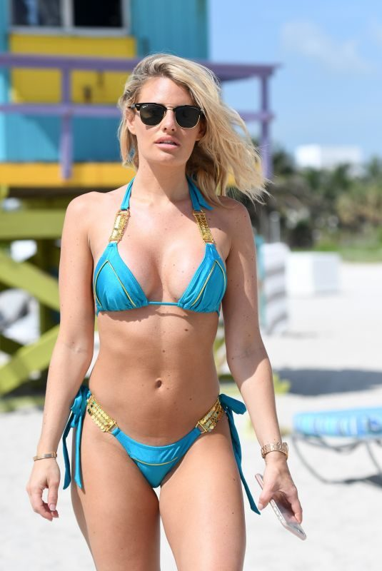 DANIELLE ARMSTRON in Bikini at a Beach in Miami 06/29/2018