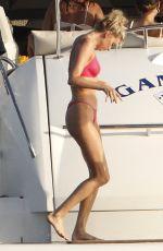 ELSA HOSK in a Red Bikini at a Yacht in Formentera 06/26/2018
