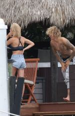 HAILEY BALDWIN and Justin Bieber on His Mansion Balcony in Miami 06/11/2018
