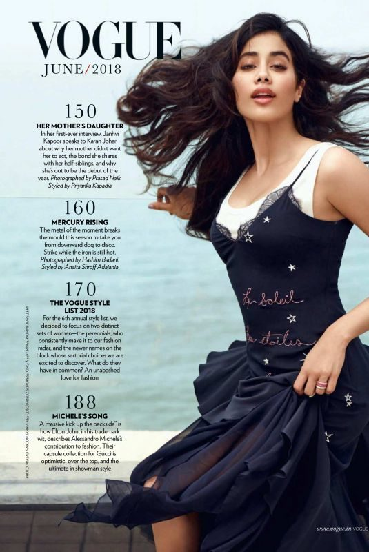 JANHVI KAPOO in Vogue Magazine, India June 2018