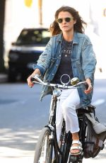 KERI RUSSELL Riding a Bike Out in New York 06/12/2018