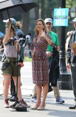 LOLA GLAUDINI on the Set of Ray Donovan at Washington Square Park in New York 06/18/2018
