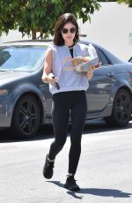 LUCY HALE Leaves a Starbucks in Studio City 06/28/2018