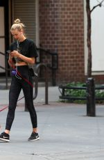 MEGAN WILLIAMS Out with Her Dog in New York 06/09/2018