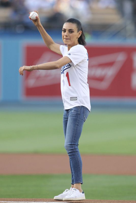 MILA KUNIS Throws Out First Pitch at Colorado Rockies vs Los Angeles Dodgers Game 06/29/2018