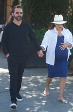 Pregnant EVA LONGORIA Out for Lunch at Porta Via in Beverly Hills 06/07/2018