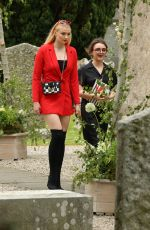 SOPHIE TURNER and MAISIE WILLIAMS Arrives at Kit Harington and Rose Leslie