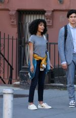 YARA SHAHIDI and Charles Melton on the Set of The Sun is Also a Star in Harlem 06/19/2018