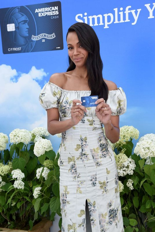 ZOE SALDANA American Express Cash Magnet Card Launch in New York 06/14/2018
