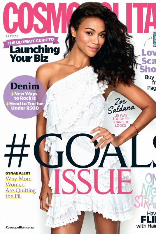 ZOE SALDANA in Cosmopolitan Magazine, South Africa July 2018