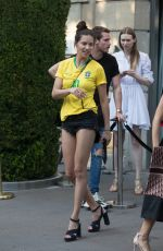 ADRIANA LIMA in Brazil Team Jersey and Shorts Out in Paris 07/02/2018