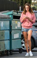 ALESSANDRA AMBROSIO in Denim Cutoff Out in Santa Monica 07/17/2018