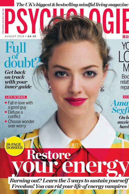 AMANDA SEYFRIED in Psychologies Magazine, August 2018