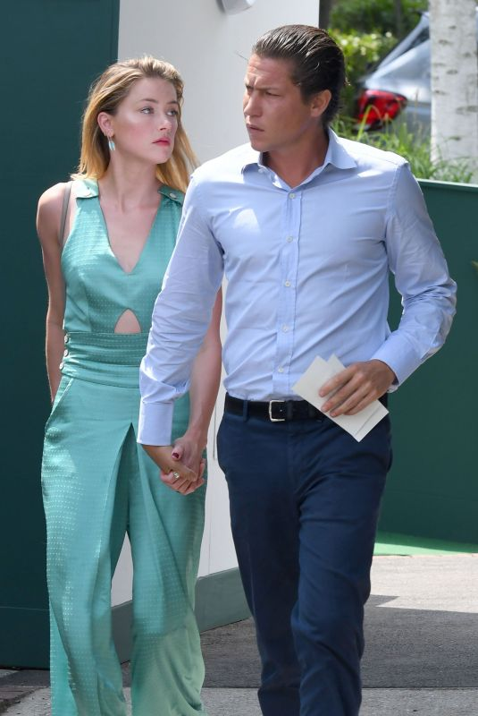 AMBER HEARD and Vito Schnabel at Wimbledon Tennis Championships in London 07/09/2018