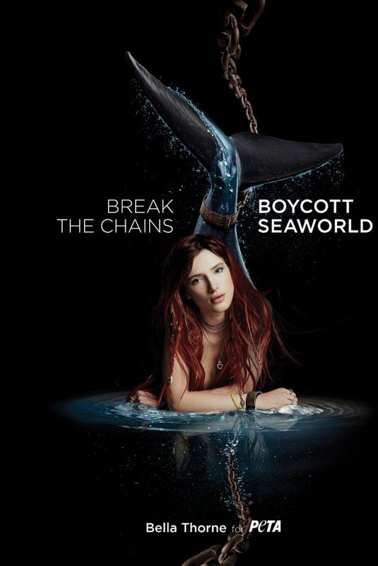 BELLA THORNE for Peta Campaign Against Sea World, July 2018