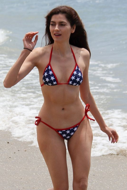 BLANCA BLANCI Celebrates Independence Day in Star Spangled Bikini at a Beach in Malibu 07/04/2018