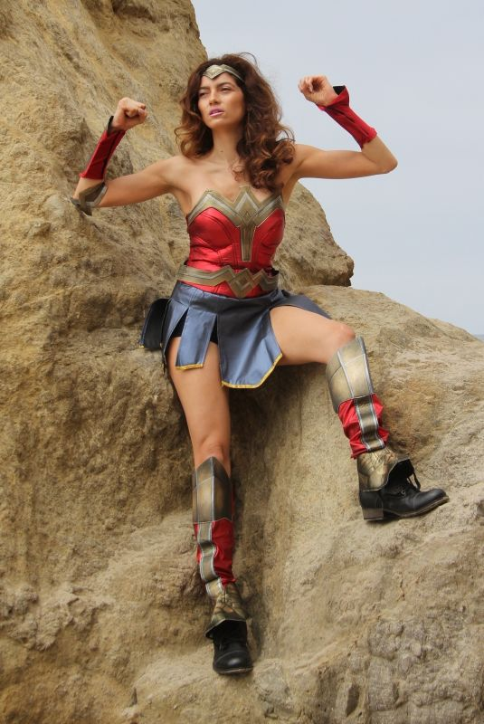 BLANCA BLANCO as Wonder Woman on the Set of a Photoshoot in Malibu 07/20/2018