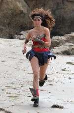 BLANCA BLANCO as Wonder Woman on the Set of a Photoshoot in Malibu 07/20/2018