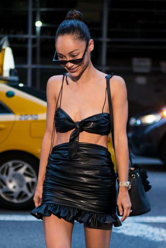 CARA SANTANA in Back Leather Top and Skirt Out in New York 07/26/2018