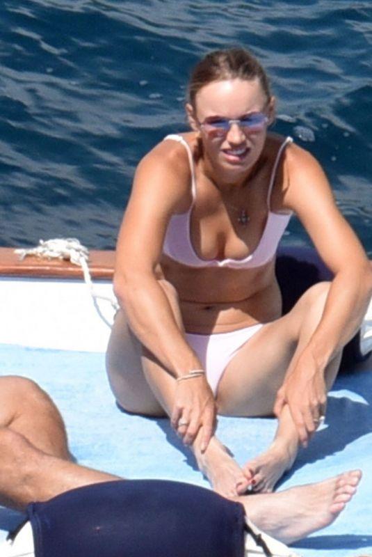 CAROLINE WOZNIACKI in Bikini at a Beach in Capri 07/11/2018