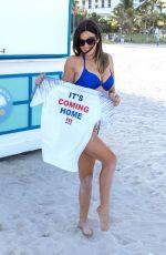 CLAUDIA ROMANI in England Jersey and Bikini Bottom ata Beach in Miami 07/10/2018