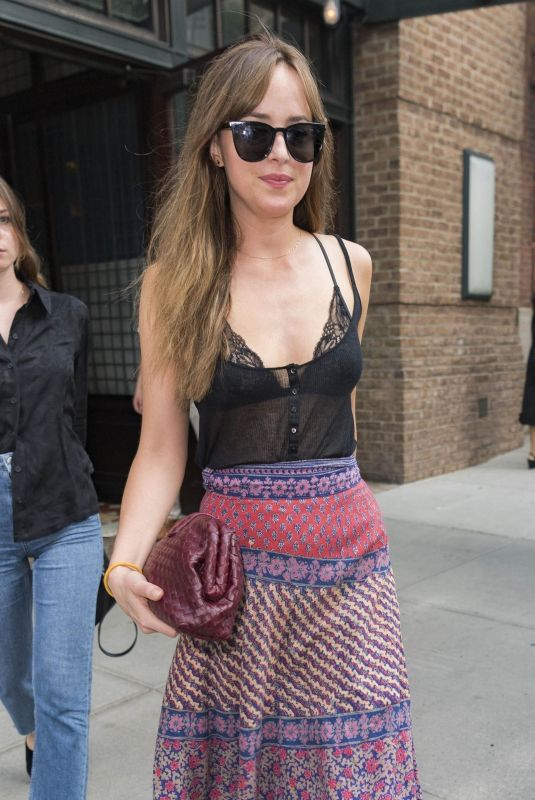 DAKOTA JOHNSON Leaves Tribeca Hotel in New York 07/16/2018