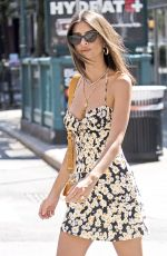 EMILY RATAJKOWSKI in a Flower Print Summer Dress Out in New York 07/19/2018