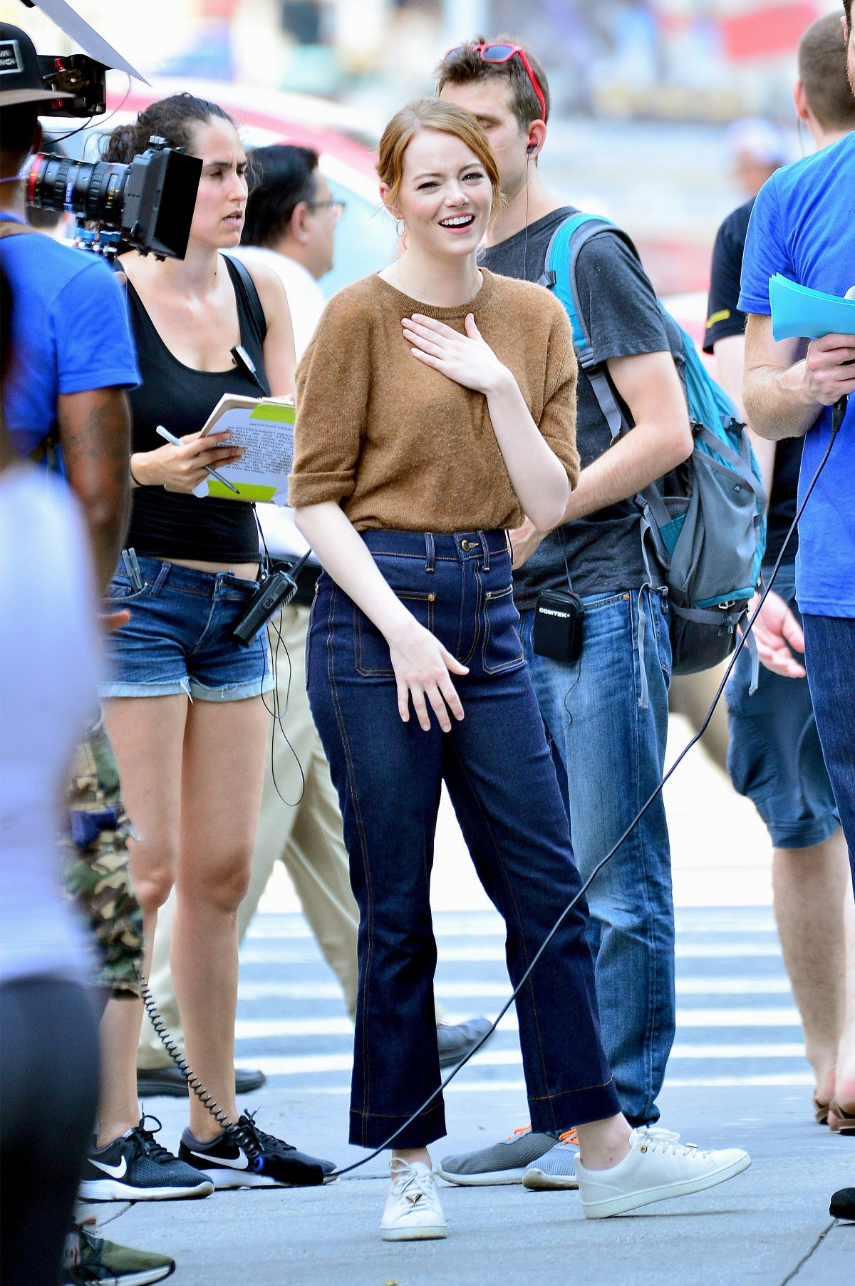 Emma Stone Filming Billy On The Street In New York 07 16 2018 Hawtcelebs