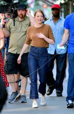 EMMA STONE on the Set of Comedy in New York 07/17/2018