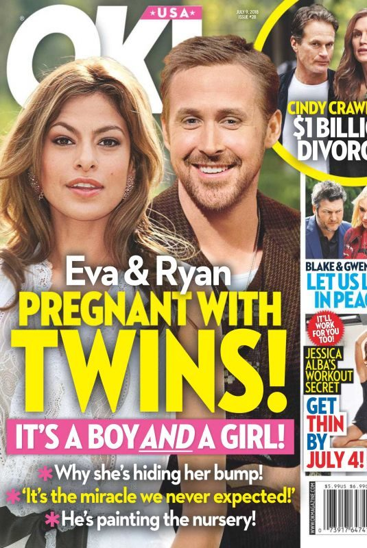 EVA MENDES and Ryan Gosling in Ok! Magazine, July 2018 Issue
