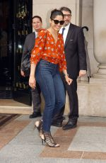 FREIDA PINTO Leaves Four Seasons Hotel George V in Paris 07/02/2018