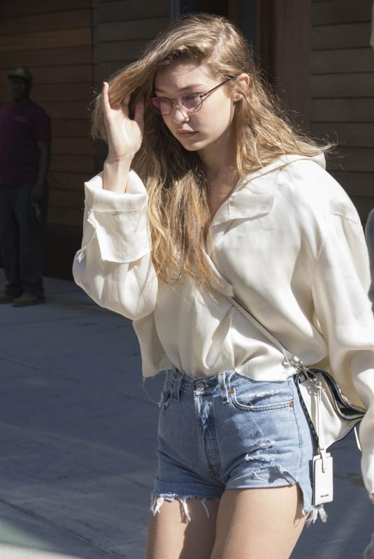 GIGI HADID in Cutoff Jeans Leaves Her Apartment in New York 07/18/2018