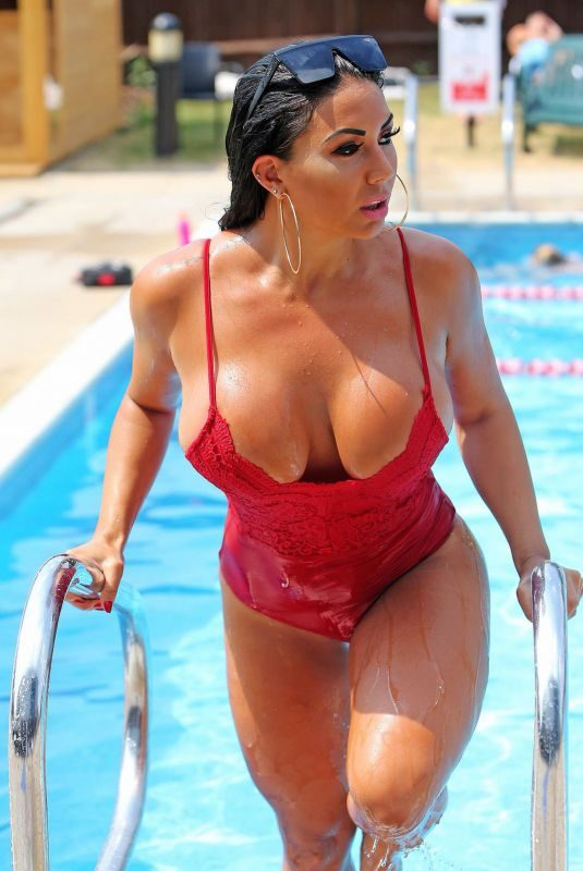 GRACE J TEAL in Swimsuit at a Pool in Southend 07/09/2018