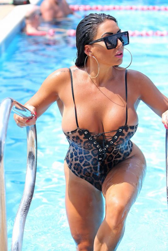 GRACE J TEAL in Swimsuit at a Pool in Southend 07/12/2018